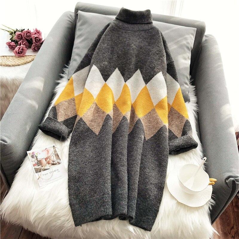 Lange Casual Rollkragen Frauen Pullover Lose Grau Verdicken Warme Winter Neue Alle Spiel Zieht Mode Outwear Mantel Tops