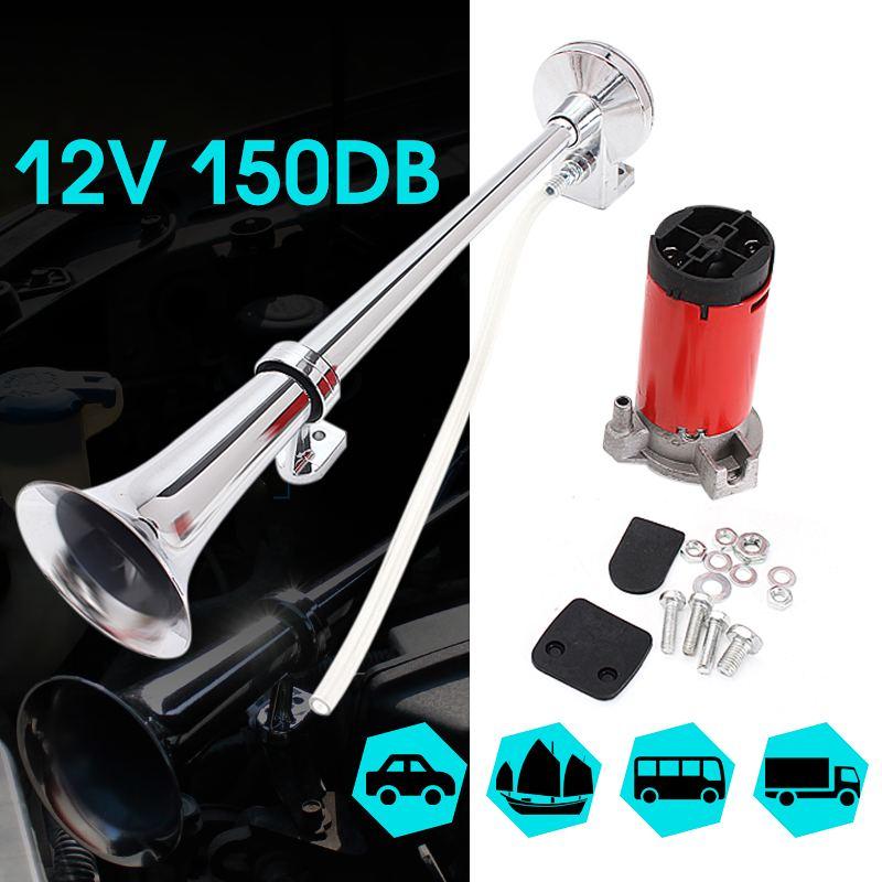 12 v 150db super alto universal único kit trompete de ar compressor cromo para o caminhão do carro barco motocicleta