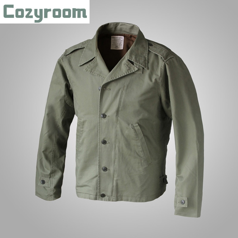 Cozyroom الولايات المتحدة الجيش الاستنساخ WW2 M-41 المجال سترات الرجال العسكرية غسل معطف الأخضر