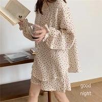 summer sleepwear women pajamas set floral print long sleeve home clothes shorts pijamas 2 piece set cotton home suit