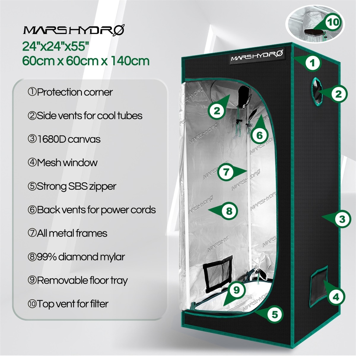 Mars Hydro TS 600W And 60x60x140CM Grow Tent LED Grow Light Sunlike Replace Quantum HPS Indoor Hydroponic Plants Growing Lamp enlarge
