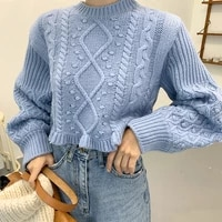 women knitted sweaters autumn winter jumper new soft warm short knitted sweater crop long sleeve solid color knitwear tops