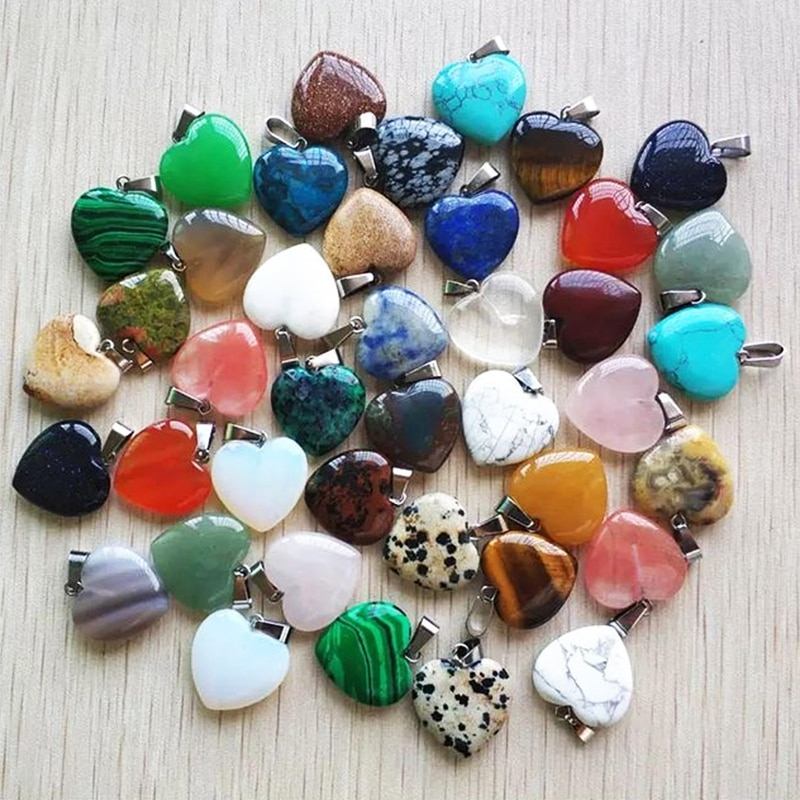 1pcs Romantic Love Heart Pendants Necklace Crystal Opal Agate Natural Stone Pendant Jewelry Accessor