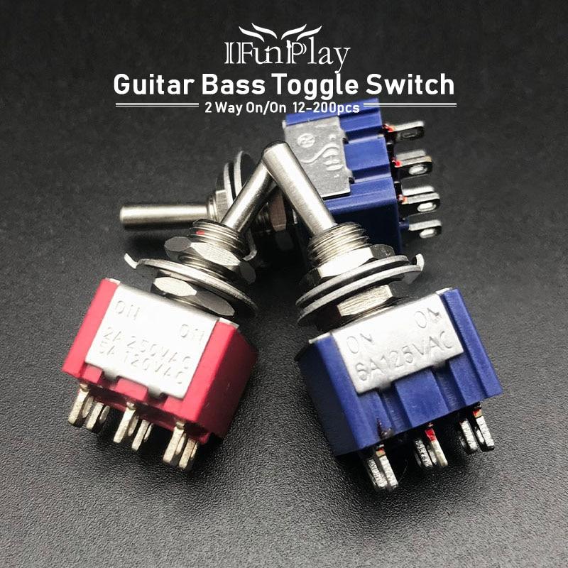 12 pièces Mini 2 voies commutateur à bascule guitare électrique basse commutateur 6Pin guitare commutateur AC 120V 5A / AC 250V 2A AC 125V 6A ON/ON rouge/bleu