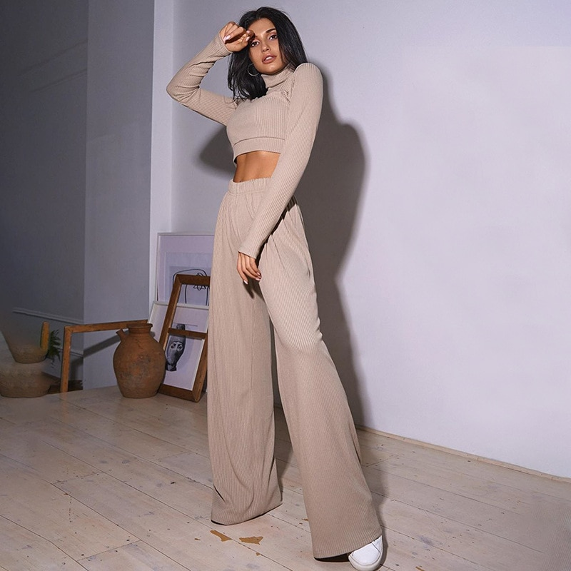 2021 Spring Women Tracksuit Outfit Cotton Two Piece Set Soft Homewear Turtleneck Long Sleeve Tops Wide Legs Pants French Style
