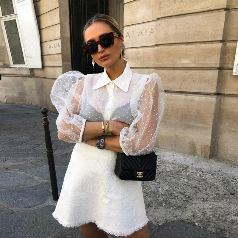 Las mujeres calientes de malla pura Blusa de manga larga camisa blusa de moda Botón de perla blanco transparente camisa Mujer blusas