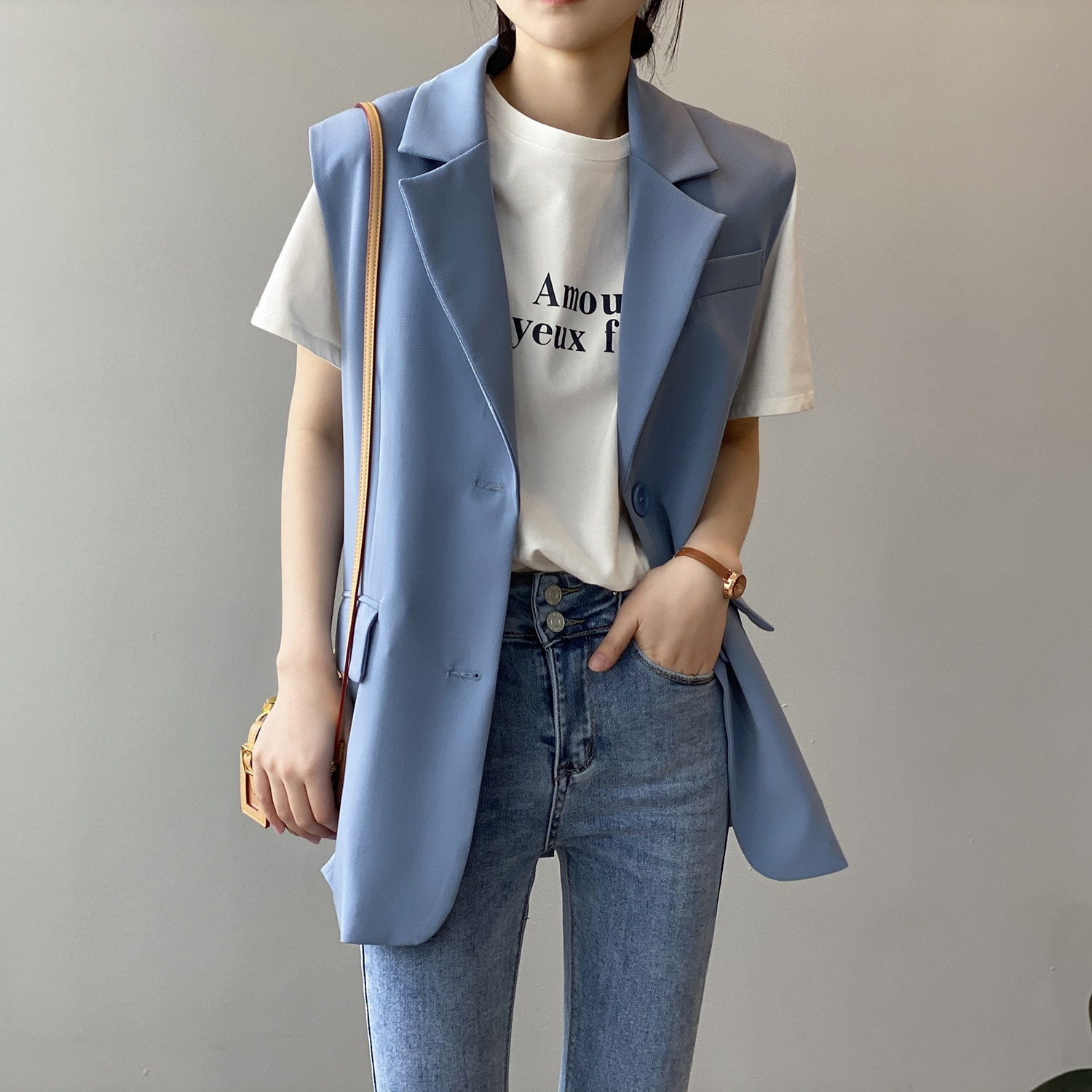 CMAZ New 2020 Women Simply Sleeveless Double Breasted Vest Jacket Office Ladies Wear Casual Suit Coa