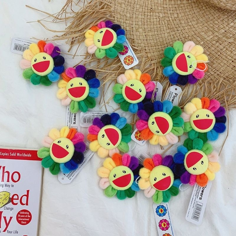 Niños mujeres verano Arco Iris falso girasol muñeca llavero broche Pin lindo peluche colgante adornos bolsa colgante decoración juguete