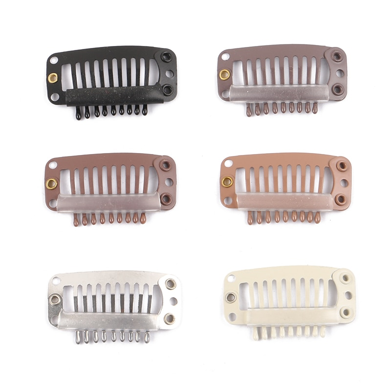 500 3.2cm 9-Teeth Snap-Comb Wig Clips With Rubber For Hair Extension Hair Snap Clips Weave Toupee Clips Styling Tools