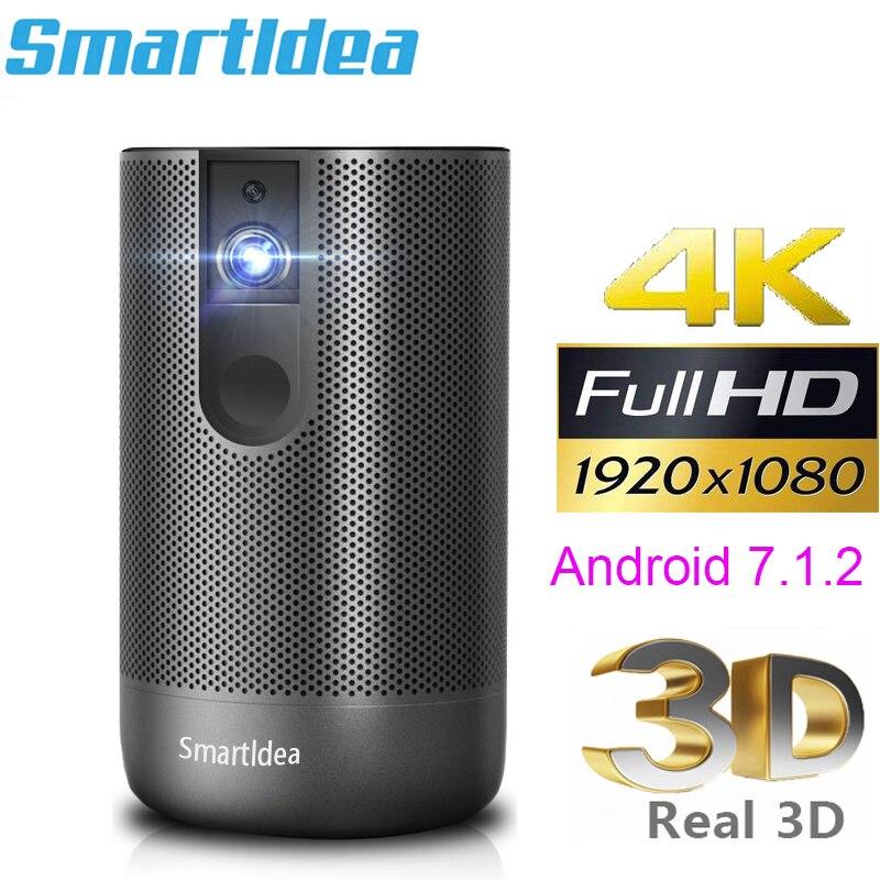 Smartldea-Proyector Full HD con Android 7,0, dispositivo de proyección DLP, resolución 1920x1080,...