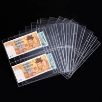 10Pcs Currency Pages Transparent 2-Pocket PVC Paper Money Protectors Sleeves for Home