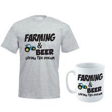 Agriculture bière fermier ferme tracteur drôle cadeau idée hommes t-shirt ensemble de tasse