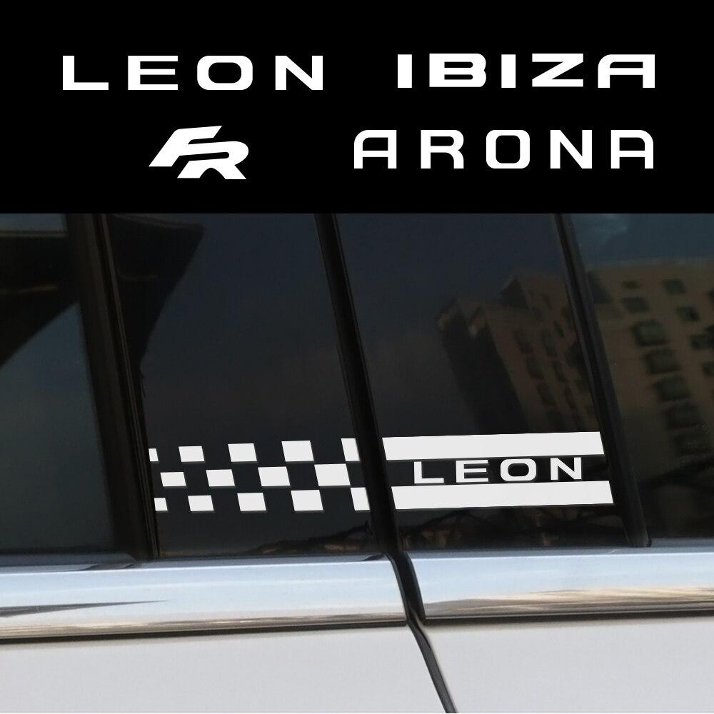 Pegatinas de decoración lateral de coche B Pillar para Seat Leon Ibiza FR Arona Ateca, accesorios reflectantes de PVC