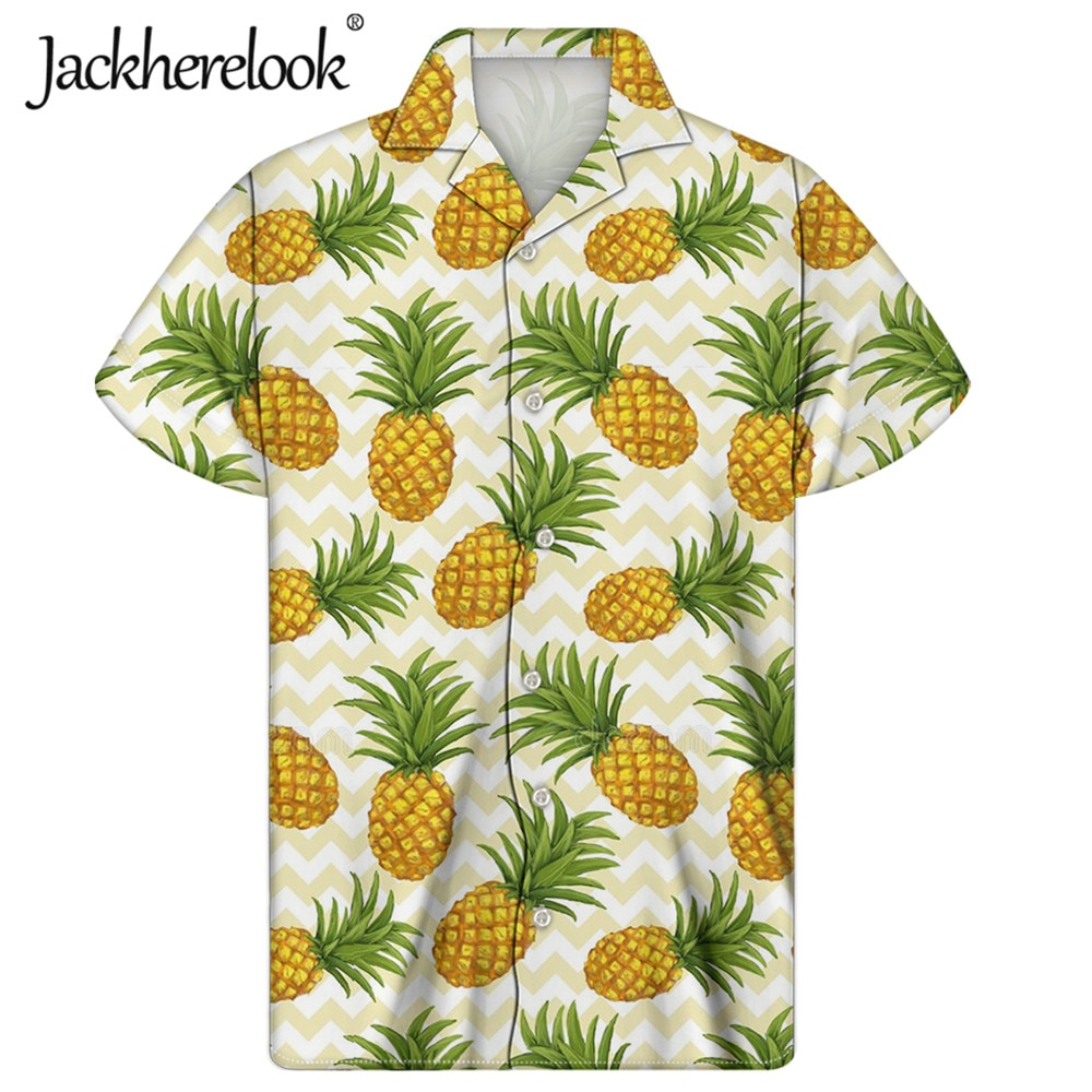 Jackherelook-camisa hawaiana de Apineapple para Hombre, ropa de playa, camisa cubana con...