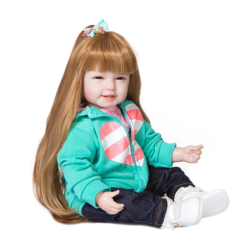 Four teeth baby reborn twins boy girl silicone doll  22 inch dress up princess doll children bebe  toy gifts