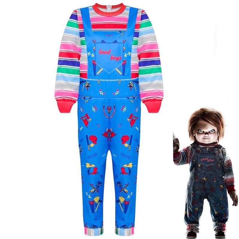 Kinder Halloween Kind der Spielen Chucky Cosplay Kostüm Jungen Mädchen Cartoon Horror Geist Puppe 3D Gedruckt Langarm Overalls Kleid