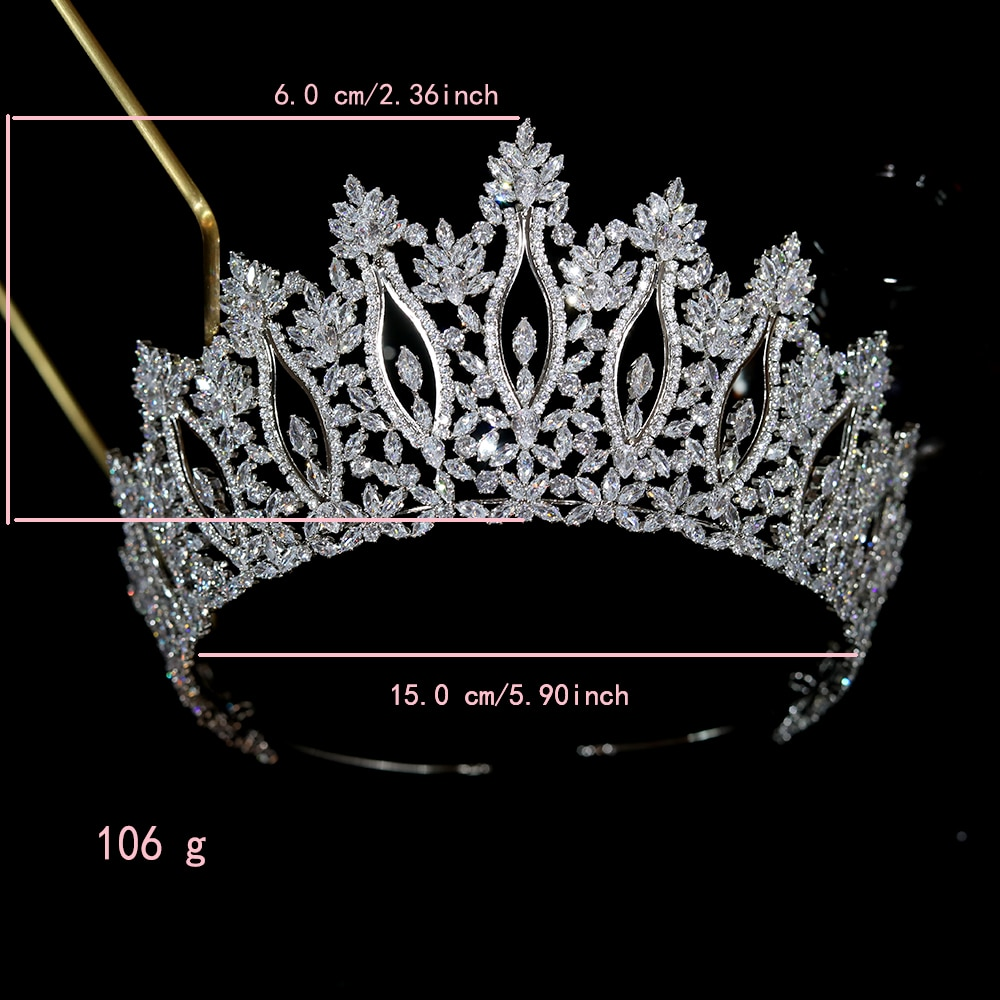 Tiaras And Crowns For Women Parmalanbe Luxury CZ Queen Crown Bridal Wedding Hair Accessories  Crystal Headdress Jewelry