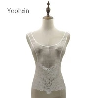 new mesh flower white embroidery diy lace collar fabric sewing applique ribbon trim neckline wedding dress guipure craft decor