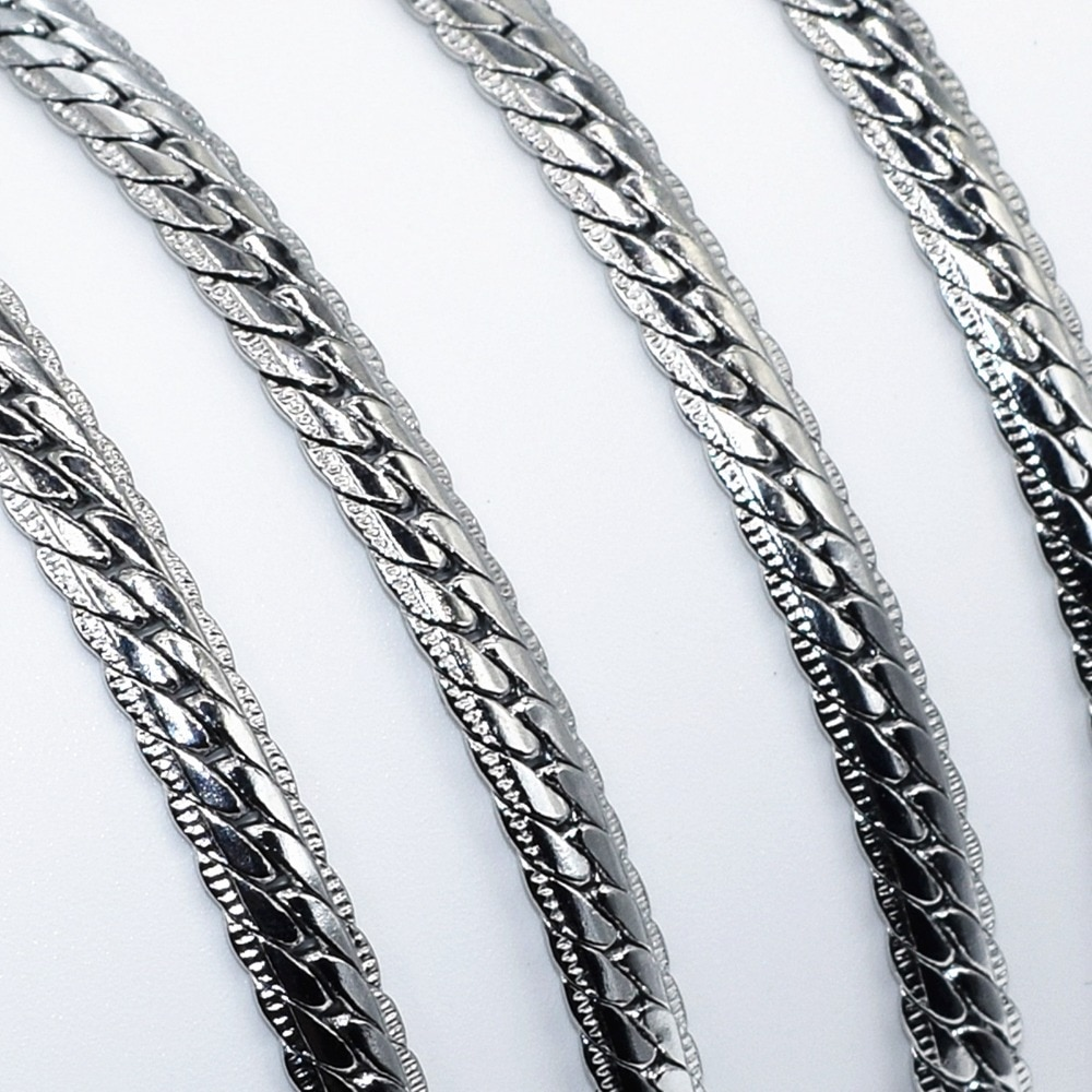 20Inches 5MM Wide Stainless Steel Necklace Link Chain Mens Boys Necklace Jewelry Gift Flannel Bags X