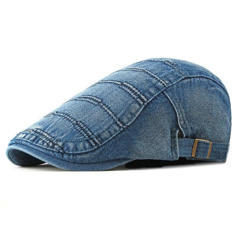 Spring Summer Solid Color Newsboy Caps Men Cotton Washed denim Flat Peaked Cap Women Painter Beret Hats 31