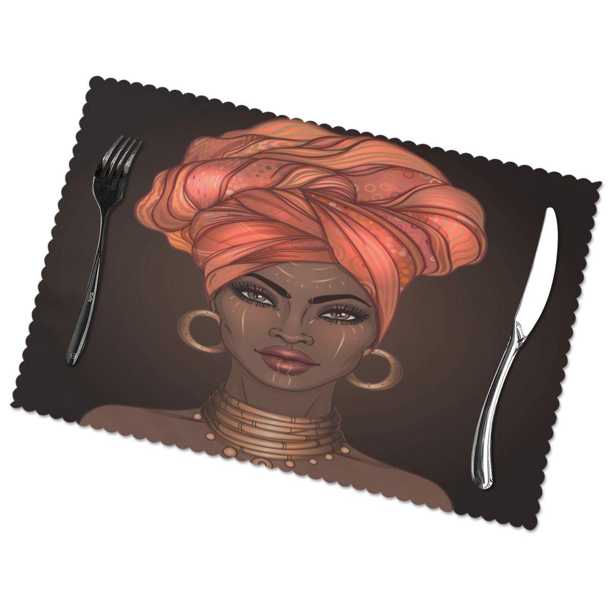 مجموعة من 6 المفارش فتاة جميلة من أصل أفريقي ل طاولة طعام مكان حصيرة في اكسسوارات المطبخ كأس النبيذ حصيرة
