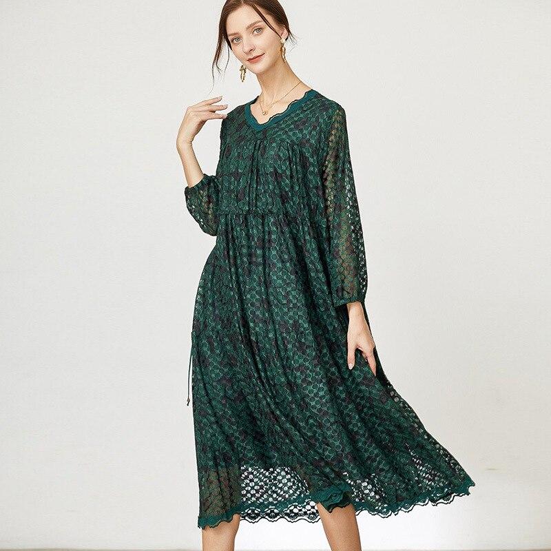 مقاس كبير فستان شيفون للخريف بأكمام كاملة للسيدات موضة جديدة 2021 فساتين حفلات أنيقة غير رسمية كبيرة الحجم للسيدات