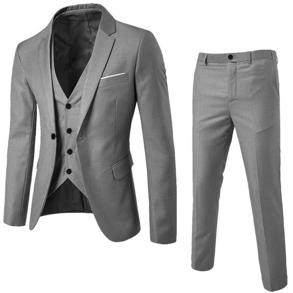 40#Men's Suit Slim 3-Piece Suit Blazer Business Wedding Party Jacket Vest & Pants vestidos fiesta