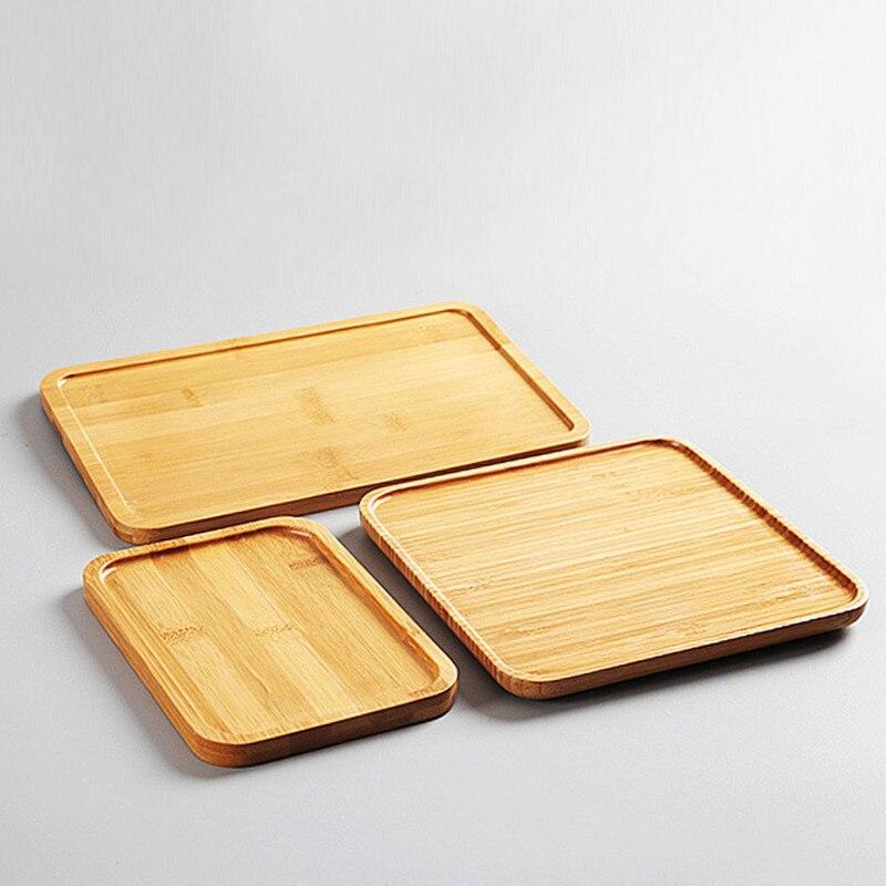 Plato de almacenamiento cuadrado rectangular de bambú, platos de frutas, bandeja de té, platos de postre, cena, pan