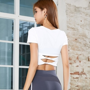 Women Yoga Short-sleeved Sports Crop Top Sexy Tight-fitting T-shirt Thin Yoga Fitness Clothes For Women Summer
