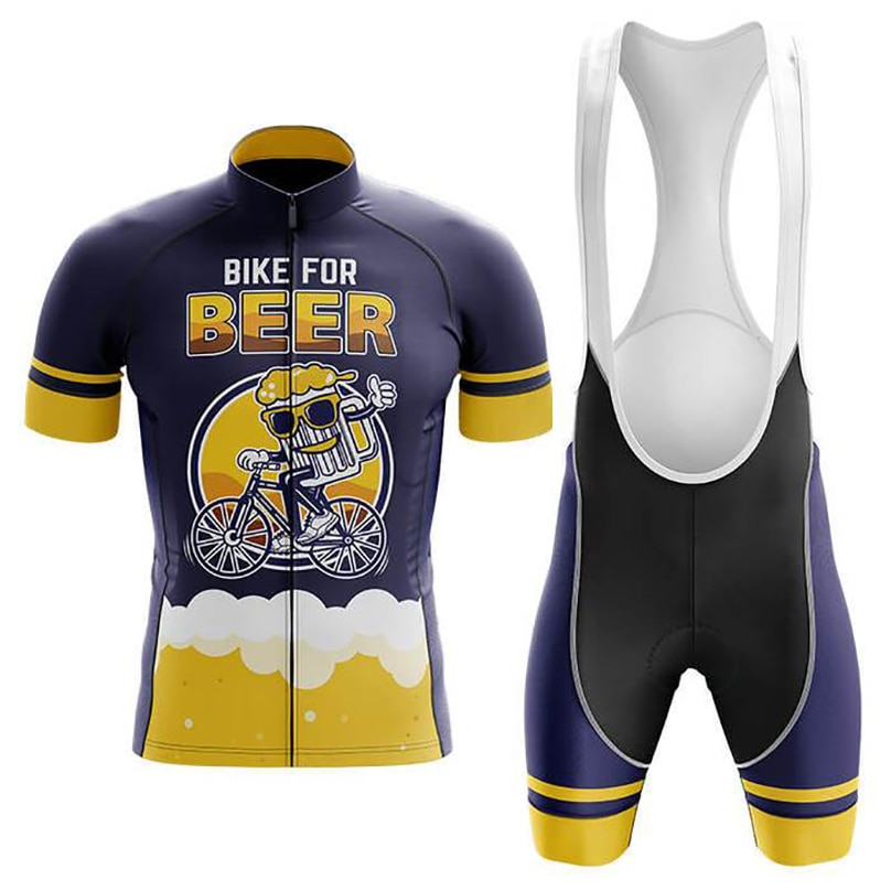 2021 Bike for Beer Men cycling jersey Sports Team Bike Clothing Quick Dry Summer Sleeve Cycling Shirt Bib Short Gel Pad Ciclismo nw cycling jersey for men quick dry short sleeve clothing set summer outdoor sportswear black retro cycling jersey for men