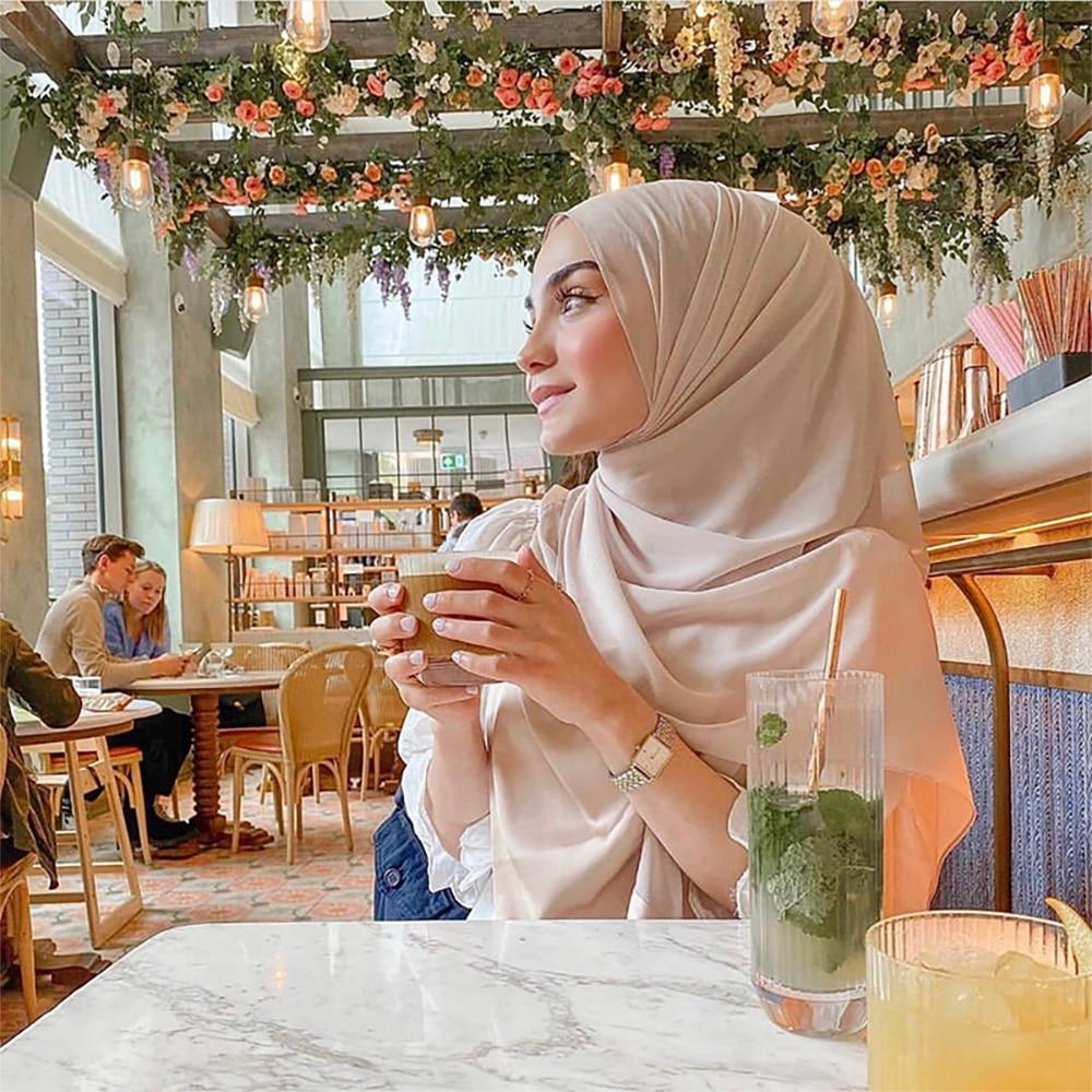 70*180cm Women Plain Bubble Chiffon Hijab Shawl Headscarf Muslim Fashion Veil Scarf For Islam