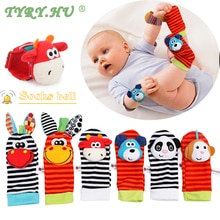 2pcs Baby Socks Wrist Rattle Toys Lovely Cartoon Handbells Hand Foot Developmental  Soft Infant Foot