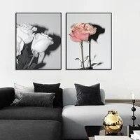 Toile de peinture de fleurs roses blanches  affiche dart mural nordique et mode imprimee  decoration de salon scandinave pour la maison