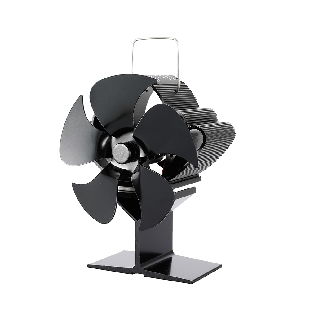 Домашний Вентилятор для камина 5 лезвий вентилятор для камина тепла Мощность обогревателем вентилятор черный вентилятор для камина дровян...