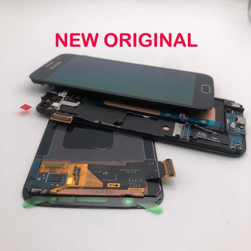 5.1 original original original amoled display lcd digitador da tela de toque com moldura para samsung galaxy s6 g920 g920f g920v g920a g920i g920p