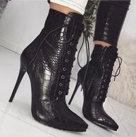 women snakeskin grain ankle boots high heels fashion female pumps pointed toe ladies sexy shoes new lace up boots