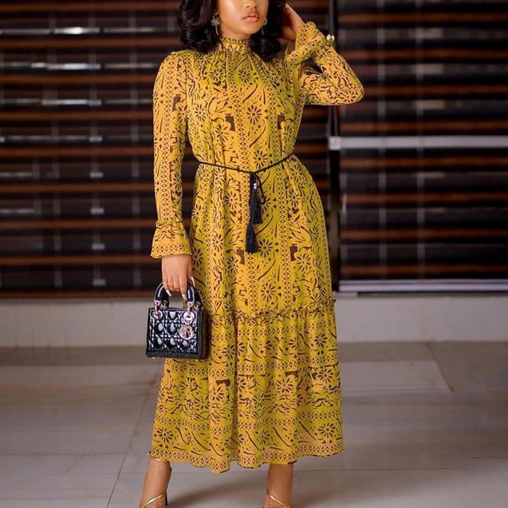 Fashion Womens African Dress  Dashiki New Spring Summer Long Sleeve Print Loose MIDI Skirt Elegant Party Vestidos