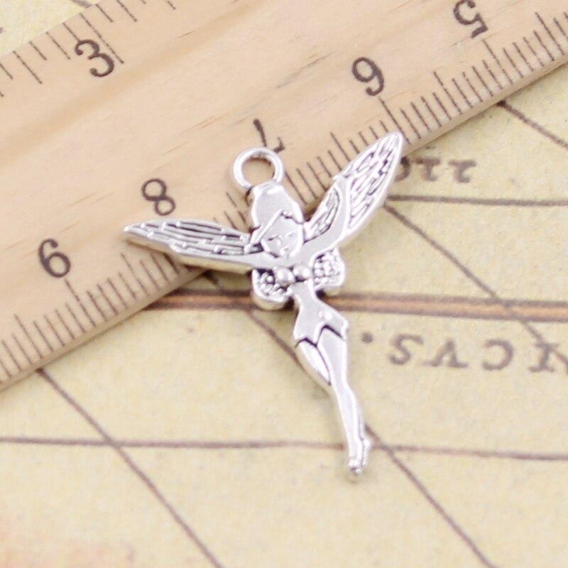 10pcs Charms Pray Butterfly Angel 29x24mm Tibetan Silver Color Pendants Antique Jewelry Making DIY Handmade Craft Pendant