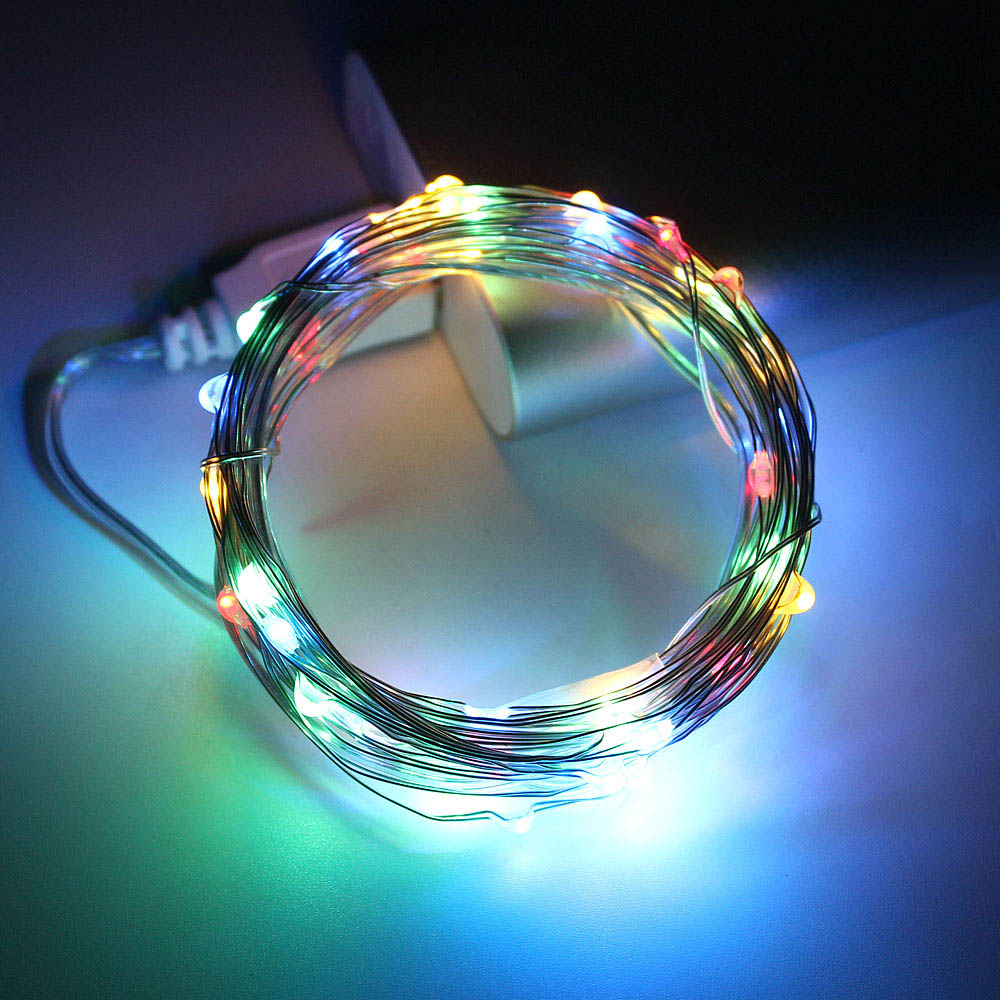10m 5m led string lights silver wire fairy warm white garland home christmas wedding holiday party decoration powered by battery 5m 10m LED String Lights Silver Wire fairy lights garland powered by USB Home decoration Birthday wedding party Holiday lighting
