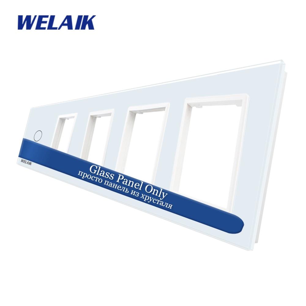 WELAIK EU Touch-Switch DIY-piezas-cristal-Panel solamente-luz de pared-interruptor-panel 5 marco 1gang + 0 + 0 + 0 + 0 agujero cuadrado A5918888W/B1