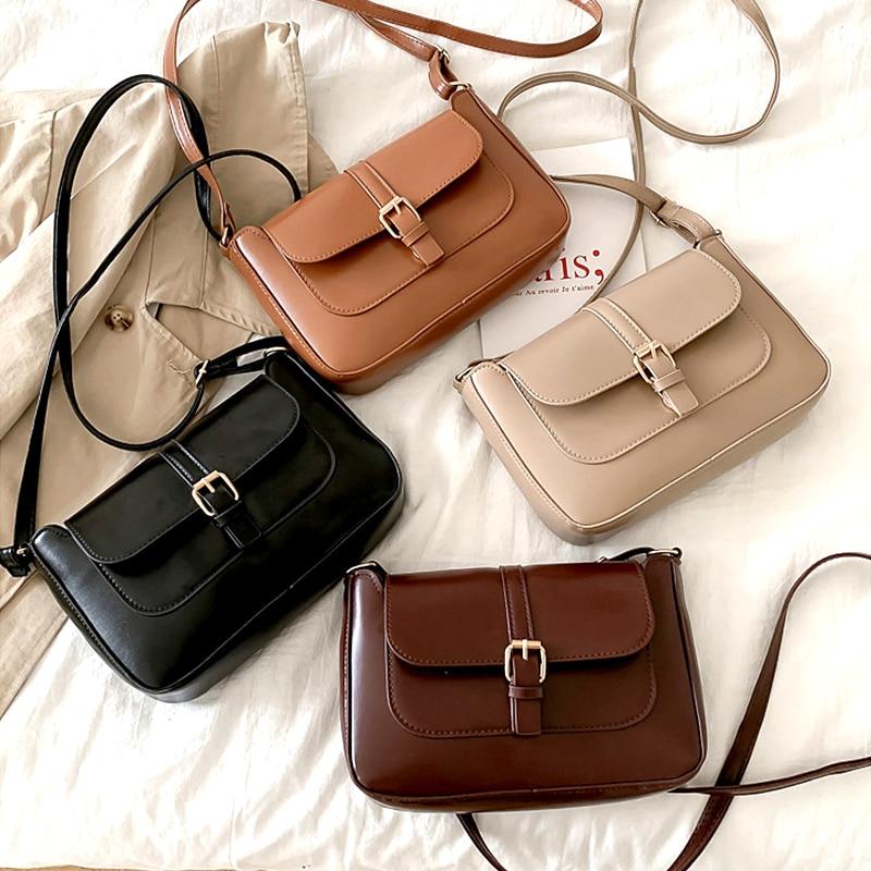 Bolsos cruzados de cuero minimalistas para mujer, bolso de hombro con cadena, bolsos de señora, bolsa cruzada para mujer 2020
