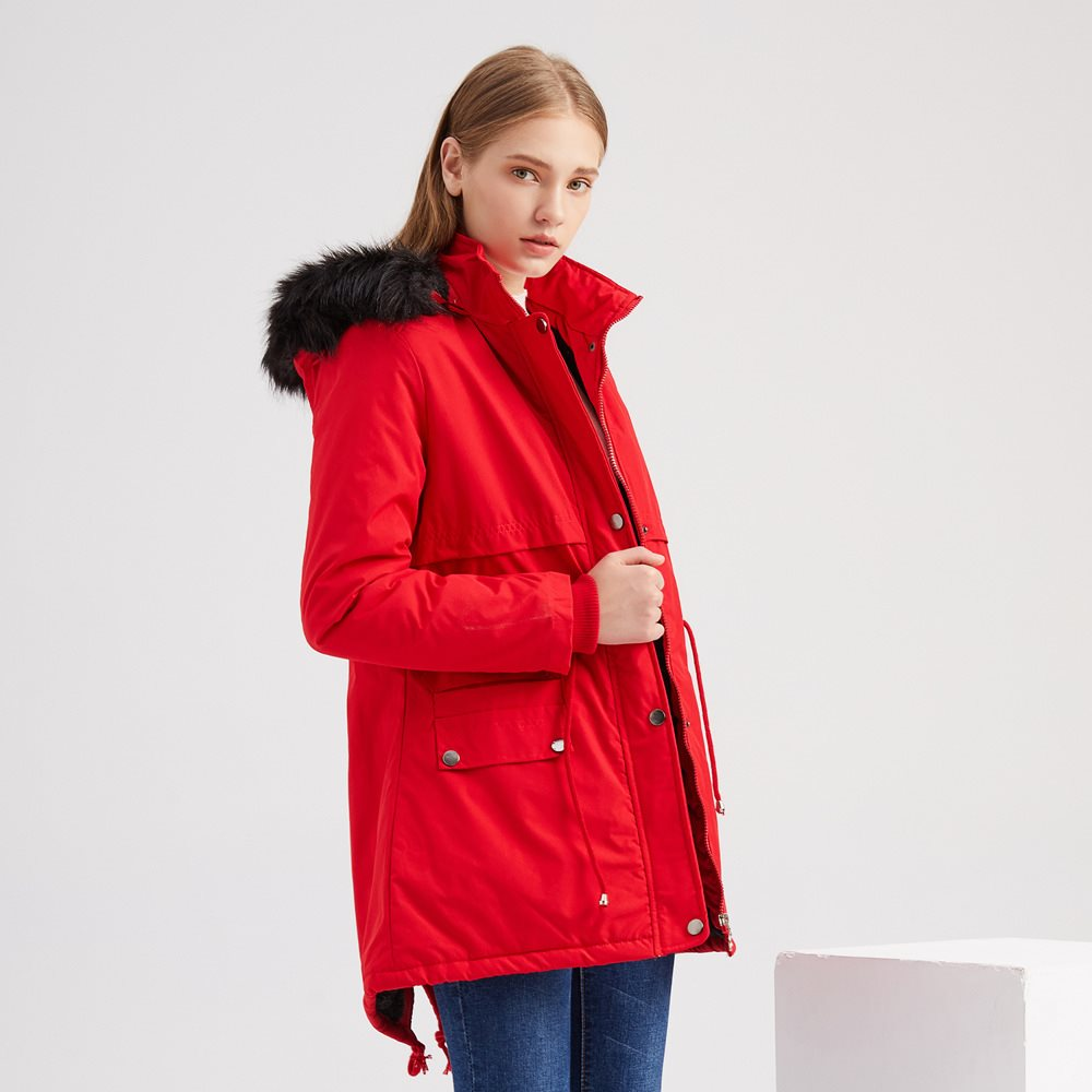 Women Fleece Cotton Parka Jacket Fur Hooded Winter Snow Coat Red Thickened Warm Overcoat Fur Lined Outerwear Jacket