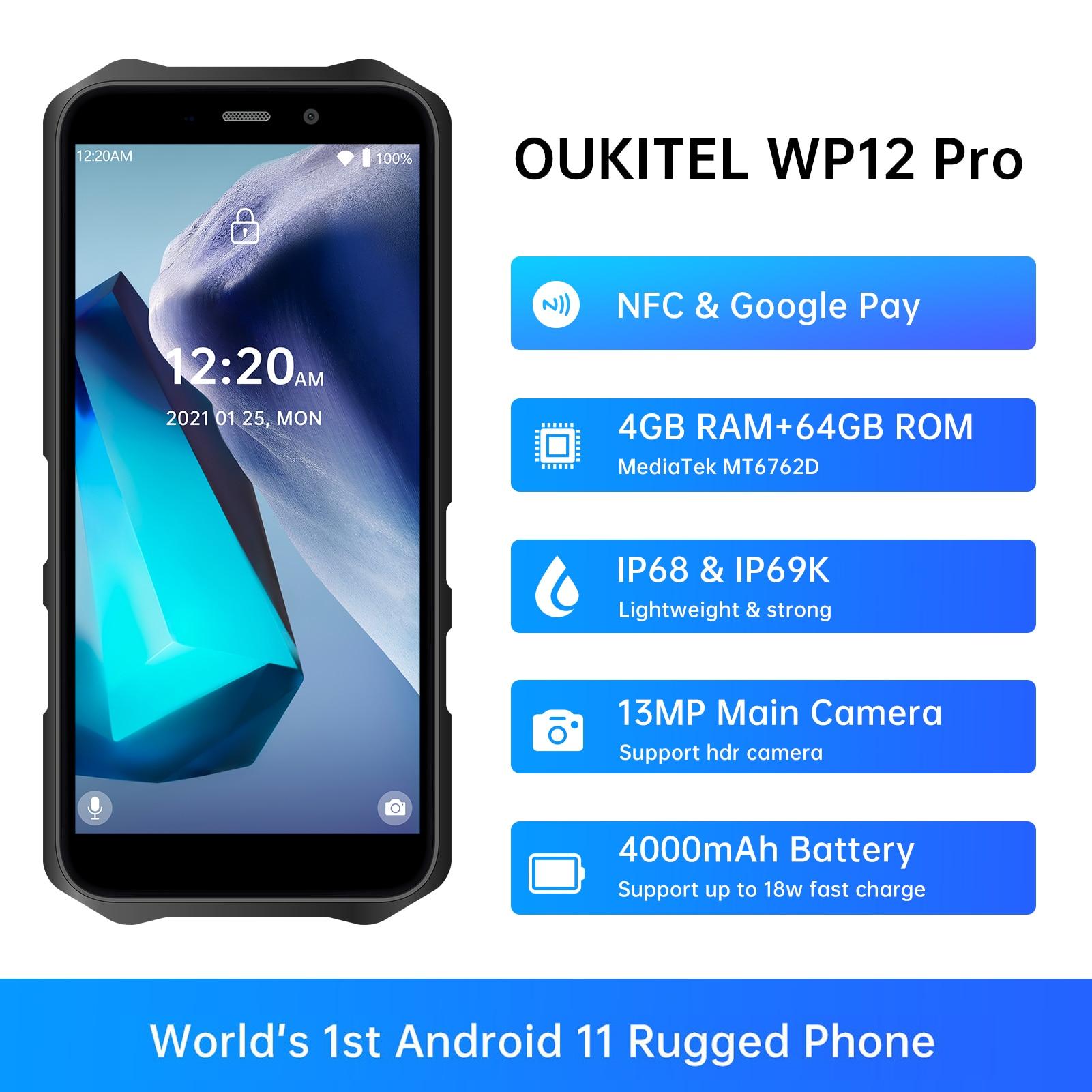 OUKITEL WP12 Pro IP68 водонепроницаемый прочный смартфон 4 Гб + 64 ГБ Android 11 5,5 дюйм HD + 4000 мАч NFC мобильный телефон четырехъядерный телефон