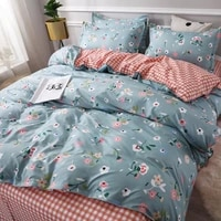 cartoon fashion bedding set polyester cotton flat bed sheet pillowcase duvet cover korean style floral home textile bed sets