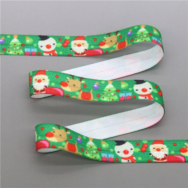 DHK 5/8'' 5yards christmas easter halloween printed Fold Elastic FOE stretch ribbon hairbow headwear headband DIY OEM C1767 8