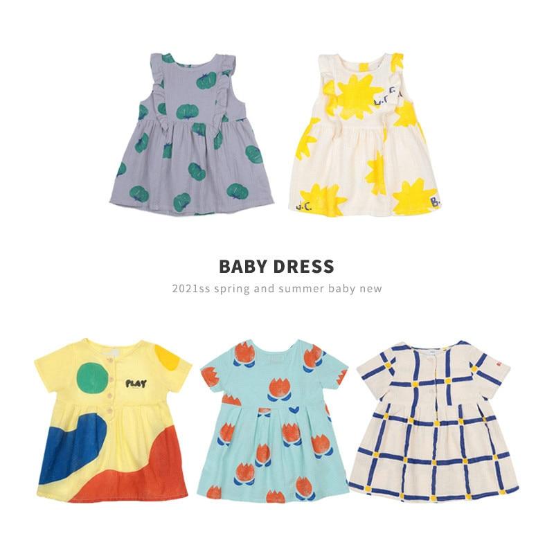 2021 primavera nova série bc meninas vestido casual estilo europeu e americano impressão completa das crianças vestido de bebê