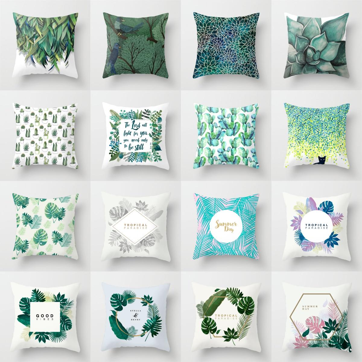 Fundas de cojín modernas de plantas tropicales, verdes y azules, fundas de almohada de poliéster nórdicas geométricas con letras y Guirnalda Floral, cojines para sofá