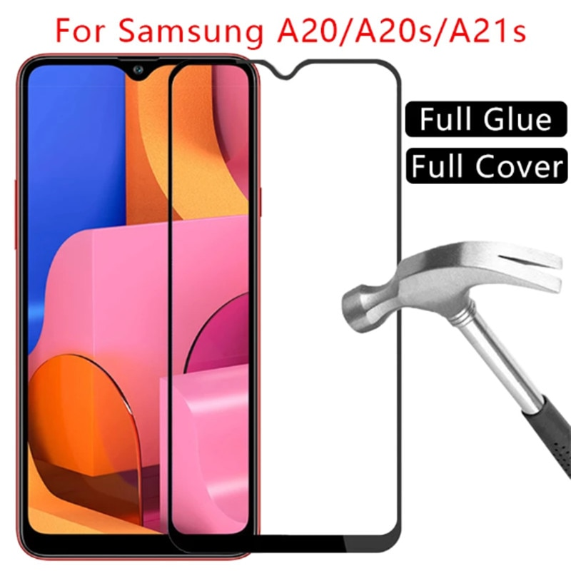2Pcs Full Cover Protective glass for samsung a21 a20 a20s Screen Protector Tempered glass on Samsung galaxy a 20 s 20s a21 film