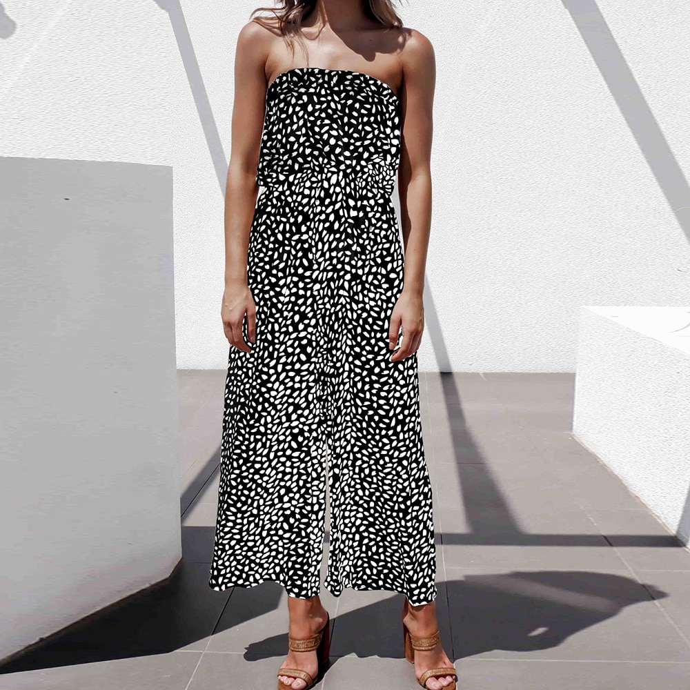Summer Sleeveless Floral Print Women Overalls Lady Strapless Tube Top Rompers Wide Leg Pants Sexy Slash Neck Women Jumpsuit D30