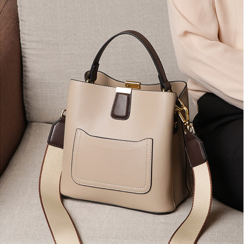 2020 Luxury Calfskin Bucket Bag High Quality Genuine Leather Women Crossbody Shoulder Bag 2 Straps Ladies Handbag Tote Small